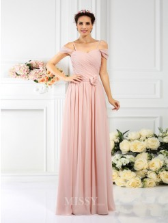 A-Line/Princess Spaghetti Straps Sleeveless Pleats Hand-Made Flower Floor-Length Chiffon Bridesmaid Dresses