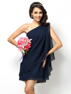A-Line/Princess Sleeveless One-Shoulder Short/Mini Chiffon Bridesmaid Dresses
