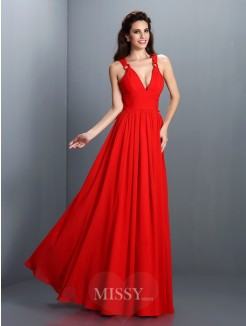 A-Line/Princess Sleeveless V-neck Pleats Floor-Length Chiffon Dress