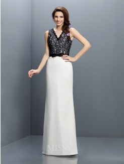Sheath/Column Sleeveless V-neck Lace Floor-Length Chiffon Bridesmaid Dresses