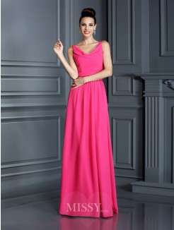 A-Line/Princess Spaghetti Straps Sleeveless Floor-Length Chiffon Dress