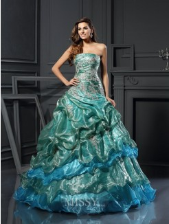 Ball Gown Sleeveless Sweetheart Tulle Applique Floor-Length Dresses