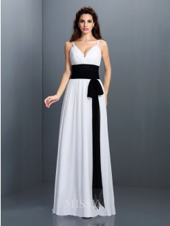 A-Line/Princess Sleeveless V-neck Sash/Ribbon/Belt Floor-Length Chiffon Dress