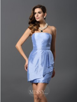 Sheath/Column Sleeveless Strapless Short/Mini Taffeta Bridesmaid Dresses
