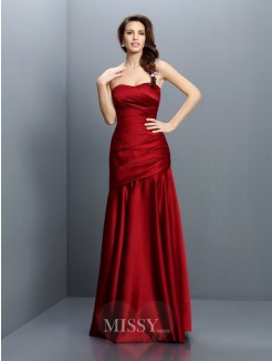 A-Line/Princess Strapless Sleeveless Ruched Floor-Length Satin Bridesmaid Dresses