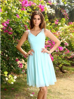 A-Line/Princess Straps Chiffon Ruched Sleeveless Knee-Length Bridesmaid Dresses