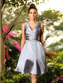 A-Line/Princess Sleeveless V-neck Knee-Length Satin Bridesmaid Dresses