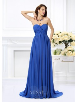 A-Line/Princess Sleeveless Sweetheart Chiffon Ruched Chaple Train Dresses