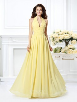 A-Line/Princess Halter Sleeveless Pleats Floor-Length Chiffon Dress