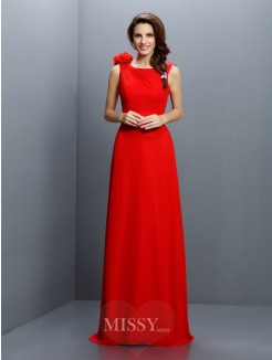 A-Line/Princess Bateau Sleeveless Hand-Made Flower Sweep/Brush Train Chiffon Bridesmaid Dresses