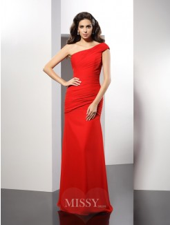 Sheath/Column One-Shoulder Pleats Sleeveless Floor-Length Chiffon Dress