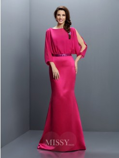 Trumpet/Mermaid Bateau Long Sleeves Sash/Ribbon/Belt Sweep/Brush Train Chiffon Bridesmaid Dresses
