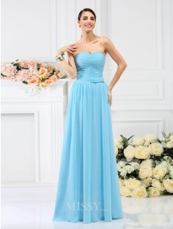 A-Line/Princess Sleeveless Sweetheart Pleats Hand-Made Flower Floor-Length Chiffon Bridesmaid Dresses