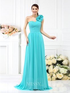 A-Line/Princess Sleeveless One-Shoulder Pleats Hand-Made Flower Sweep/Brush Train Chiffon Bridesmaid Dresses