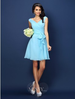 A-Line/Princess Sleeveless V-neck Pleats Bowknot Short/Mini Chiffon Bridesmaid Dresses