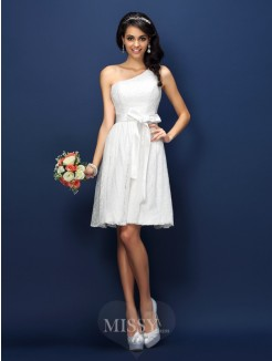 A-Line/Princess Sleeveless One-Shoulder Lace Bowknot Short/Mini Lace Bridesmaid Dresses