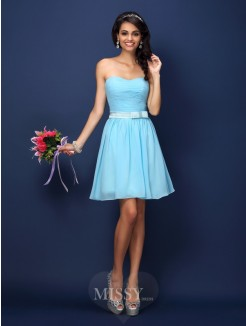 A-Line/Princess Strapless Sleeveless Pleats Short/Mini Chiffon Bridesmaid Dresses
