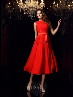 A-Line/Princess Sleeveless High Neck Chiffon Tea-Length Sash/Ribbon/Belt Dresses