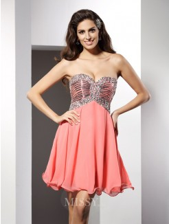 A-Line/Princess Sweetheart Beading Sleeveless Short/Mini Chiffon Dress