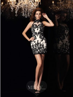 Sheath/Column High Neck Chiffon Sleeveless Applique Beading Short/Mini Dress