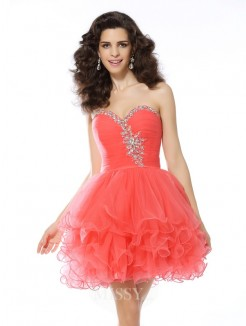 A-Line/Princess Sleeveless Sweetheart Ruffles Satin Short/Mini Dress