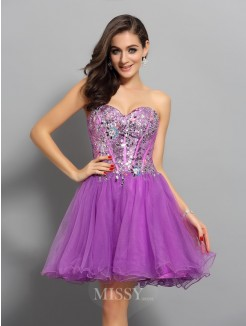 Sleeveless Sweetheart A-Line/Princess Satin Beading Short/Mini Dress