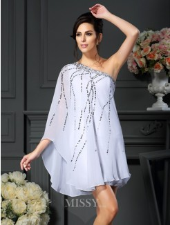 A-Line/Princess One-Shoulder Sequin Sleeveless Short/Mini Chiffon Mother of the Bride Dress