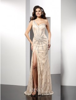 Sheath/Column Sleeveless One-Shoulder Sweep/Brush Train Elastic Woven Satin Dresses