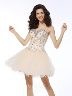Sleeveless A-Line/Princess Sweetheart Satin Ruffles Short/Mini Dress