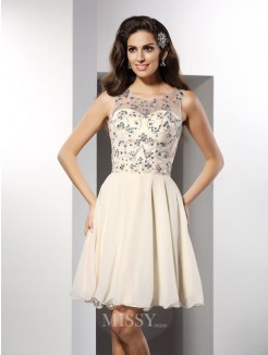 A-Line/Princess Bateau Sleeveless Beading Short/Mini Chiffon Dress