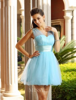 A-Line/Princess Sleeveless V-neck Net Pleats Beading Short/Mini Dress