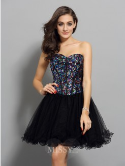 A-Line/Princess Sweetheart Net Sleeveless Short/Mini Ruffles Dresses