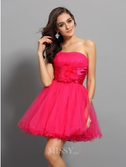 A-Line/Princess Sleeveless Sweetheart Sash/Ribbon/Belt Short/Mini Elastic Woven Satin Dresses