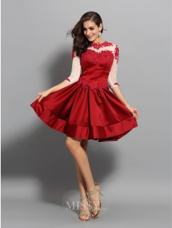 A-Line/Princess High Neck 1/2 Sleeves Satin Short/Mini Applique Dresses