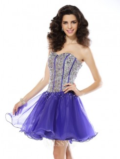 A-Line/Princess Sleeveless Sweetheart Beading Short/Mini Organza Dresses