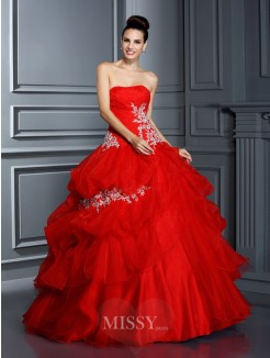 Ball Gown Strapless Sleeveless Applique Floor-Length Organza Quinceanera Dresses