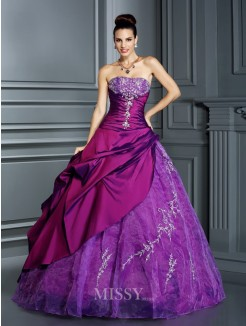 Ball Gown Strapless Sleeveless Applique Floor-Length Taffeta Quinceanera Dresses