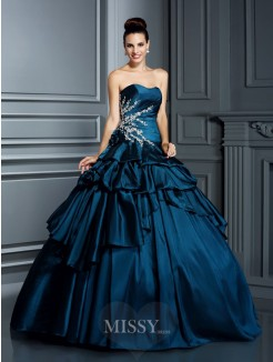 Ball Gown Strapless Sleeveless Beading Floor-Length Taffeta Quinceanera Dresses