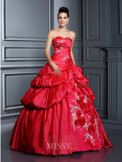 Ball Gown Sleeveless Sweetheart Hand-Made Flower Floor-Length Taffeta Quinceanera Dresses