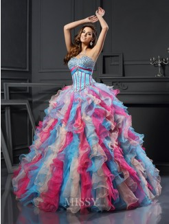 Ball Gown Sweetheart Organza Beading Floor-Length Sleeveless Dresses