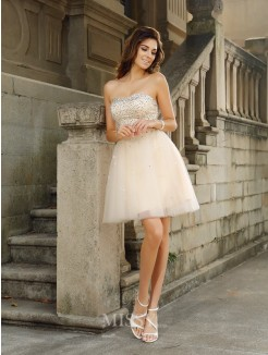 A-Line/Princess Beading Sleeveless Strapless Short/Mini Satin Dresses
