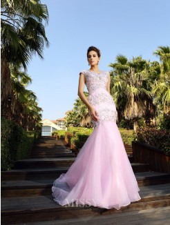 Trumpet/Mermaid V-neck Beading Court Train Sleeveless Satin Dresses