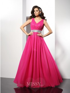 A-Line/Princess V-neck Paillette Sleeveless Floor-Length Chiffon Dress