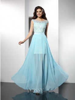 A-Line/Princess Bateau Sleeveless Applique Floor-Length Chiffon Dress