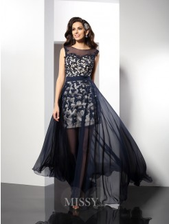 A-Line/Princess Sleeveless Scoop Floor-Length Elastic Woven Satin Dresses