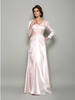 A-Line/Princess Long Sleeves V-neck Silk like Satin Floor-Length Ruched Mother of the Bride Dress