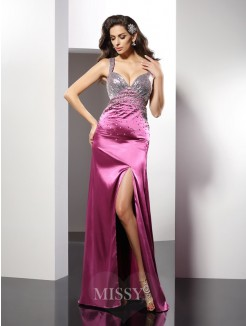 A-Line/Princess Straps Beading Sleeveless Floor-Length Elastic Woven Satin Dresses