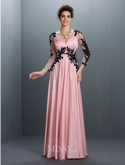 A-Line/Princess V-neck 3/4 Sleeves Applique Floor-Length Chiffon Dress