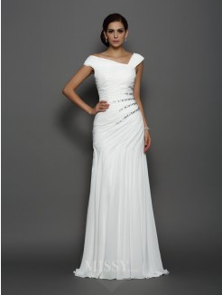 Trumpet/Mermaid Sleeveless Chiffon Beading Sweep/Brush Train Dresses