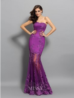 Trumpet/Mermaid Sleeveless Sweetheart Applique Chiffon Beading Floor-Length Dresses